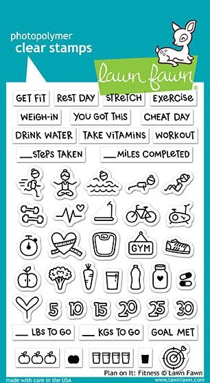 Lawn Fawn clear stamp set - Plan on it: Fitness