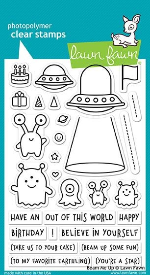 Happymade - Lawn Fawn clear stamp set - Beam Me Up