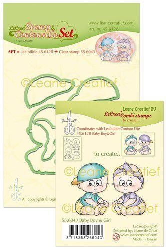 Happymade - Leane Creatief - Clear stamp w/die - Baby Boy  & Girl (55.6043 + 45.6128)