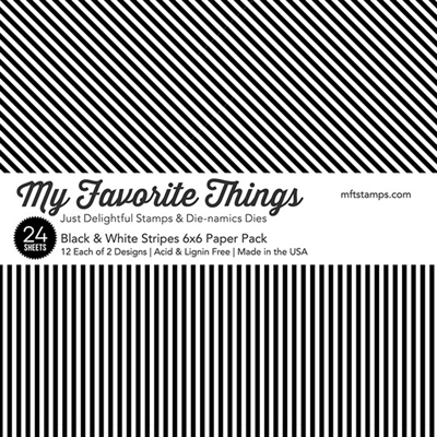 "Happymade - My Favorite Things Paper Pack - 6x6"" - Black & White Stripes (EP-54)"
