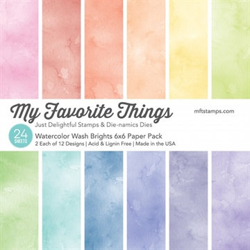 "Happymade - My Favorite Things Paper Pack - 6x6"" - Watercolor Wash Brights (EP-29)"