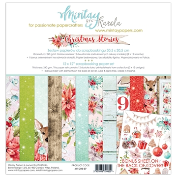 "Mintay Papers - Design papers - Christmas Stories - 12x12"" (pakn. m/12 + 1 bonus ark)"