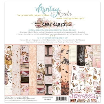 "Mintay Papers - Design papers - Dear Diary - 12x12"" (pakn. m/12 + 1 bonus ark)"