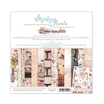 "Mintay Papers - Design papers - Dear Diary - 6x6"" (blok m/24 + 2 bonus ark)"