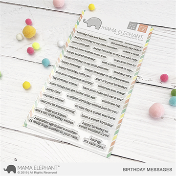 Happymade - Mama Elephant clear stamp set - Birthday Messages