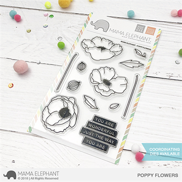 Happymade - Mama Elephant clear stamp set - Poppy Flowers