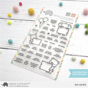 Happymade - Mama Elephant clear stamp set - Big News