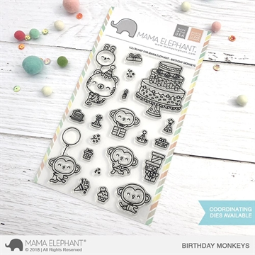 Happymade - Mama Elephant clear stamp set - Birthday Monkeys