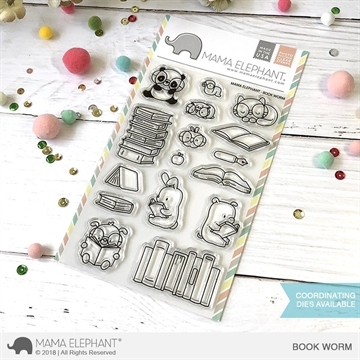 Happymade - Mama Elephant clear stamp set - Book Worm