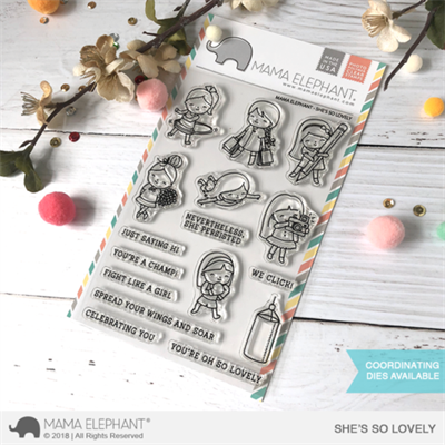 Happymade - Mama Elephant clear stamp set - She\'s So Lovely