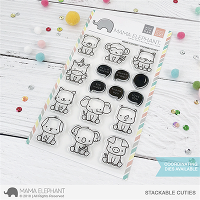 Happymade - Mama Elephant clear stamp set - Stackable Cuties