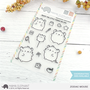 Happymade - Mama Elephant clear stamp set - Zodiac Mouse
