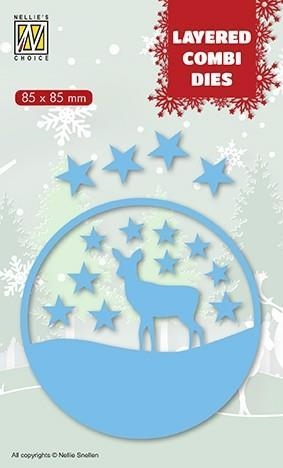 Happymade - Nellie Snellen - Layered Die - Round - Christmas Deer (LCDCD003)
