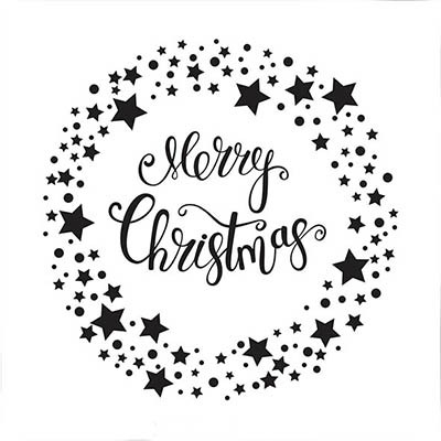 Nellie Snellen - Embossing folder -  Merry Christmas star wreath - EFE032