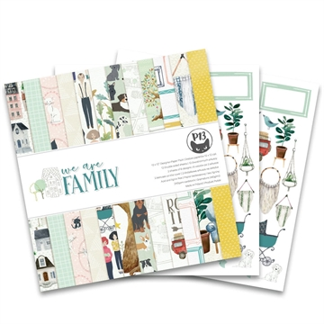"Happymade - Piatek - Design papers - We Are Family - 12x12"" (pakn. m/12 + 2 bonus ark)"