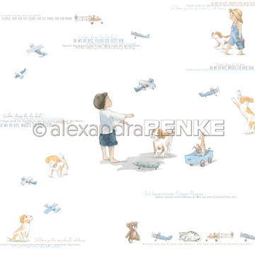 "Happymade - Alexandra Renke - 12x12"" - Kids Boy and Toy Plane - 10.1770"