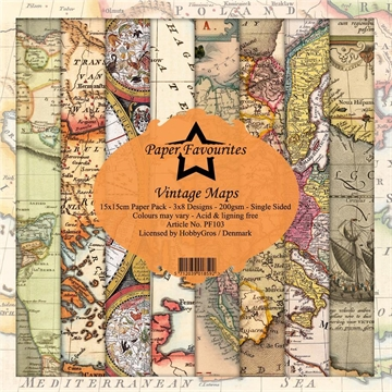Happymade - Paper Favourites - Design papers - 15x15cm - Vintage Maps (PF103)