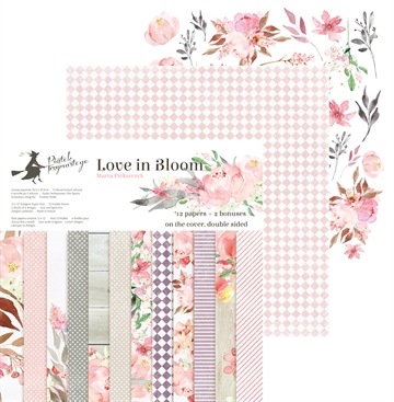"Happymade - Piatek - Design papers - Love in Bloom - 12x12"" (pakn. m/12 + 2 bonus ark)"