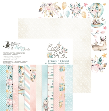 "Happymade - Piatek - Design papers - Cute & Co - 6x6"" (pakn. m/24 + 2 bonus ark)"
