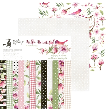 "Happymade - Piatek - Design papers - Hello Beautiful - 12x12"" (pakn. m/12 + 2 bonus ark)"