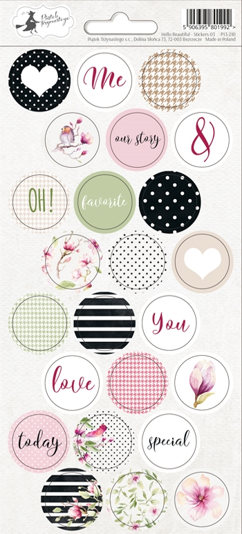 Happymade - Piatek - Stickers - Hello Beautiful - P13-210
