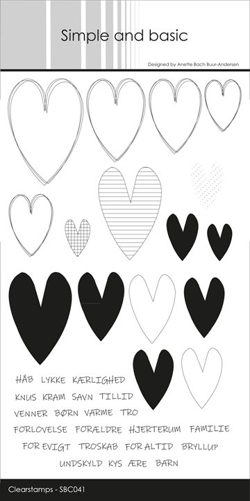 Happymade - Simple and basic - Clear stamp - Hjerter (SBC041)