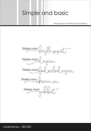 Happymade - Simple and basic - Clear stamp - Tillykke (SBC002)