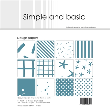 Happymade - Simple and basic - Design papers - 15x15cm - Aqua - SBP506