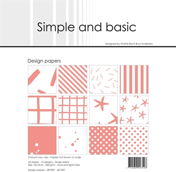 Happymade - Simple and basic - Design papers - 15x15cm - Fresh Peach - SBP507