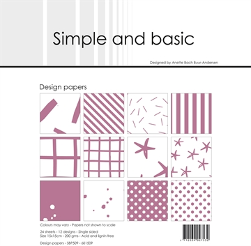 Happymade - Simple and basic - Design papers - 15x15cm - Old Rose - SBP509