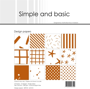 Happymade - Simple and basic - Design papers - 15x15cm - Cognac - SBP510