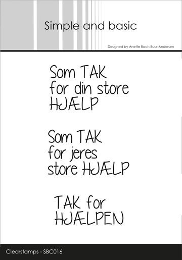 Simple and basic - Clear stamp - Tak for hjælpen (SBC016)
