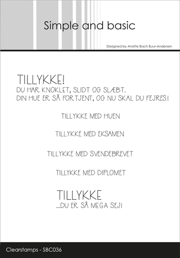 Happymade - Simple and basic - Clear stamp - Tillykke med... (SBC036)