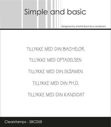 Happymade - Simple and basic - Clear stamp - Tillykke med din bachelor... (SBC058)