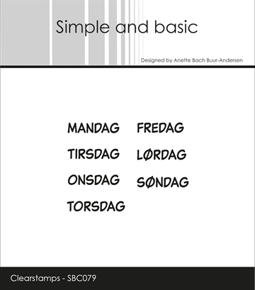Happymade - Simple and basic - Clear stamp - Planner - Ugedage (SBC079)