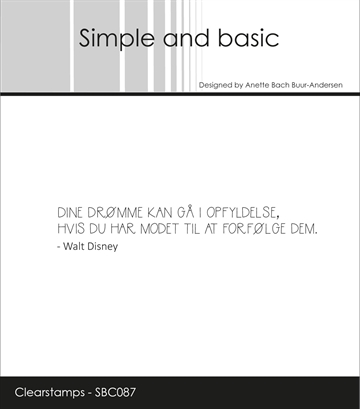 Happymade - Simple and basic - Clear stamp - Citat - Dine Drømme... (SBC087)