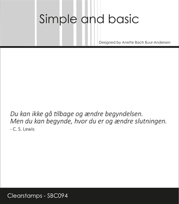Happymade - Simple and basic - Clear stamp - Citat - Du kan ikke gå tilbage... (SBC094)