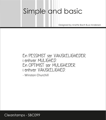 Happymade - Simple and basic - Clear stamp - Citat - En pessimist ser vanskeligheder... (SBC099)
