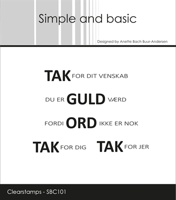 Happymade - Simple and basic - Clear stamp - TAK for dit venskab... (SBC101)