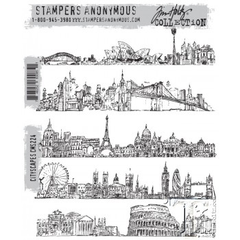 Happymade - Tim Holtz Cling Rubber Stamp Set - Cityscapes (CMS224)