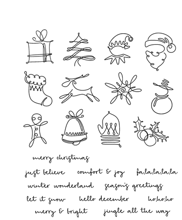 Tim Holtz Cling Rubber Stamp Set - December Doodles (CMS355)