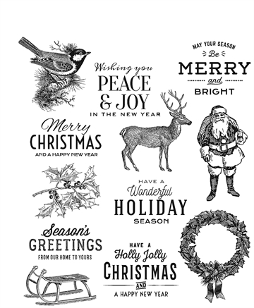 Happymade - Tim Holtz Cling Rubber Stamp Set - Festive Overlay (CMS357)