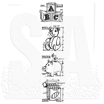 Happymade - Tim Holtz Cling Rubber Stamp Set - Childhood Mini Blueprints Strip (THMB023)