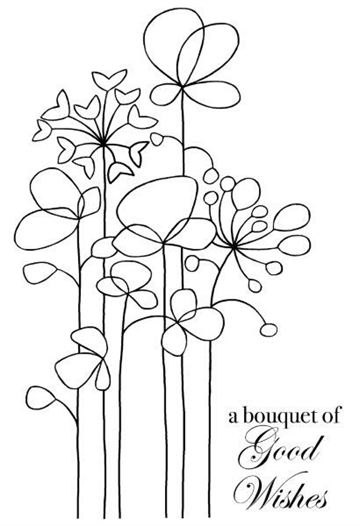 Happymade - Woodware - Clear stamp - Long tall flowers - JGS490