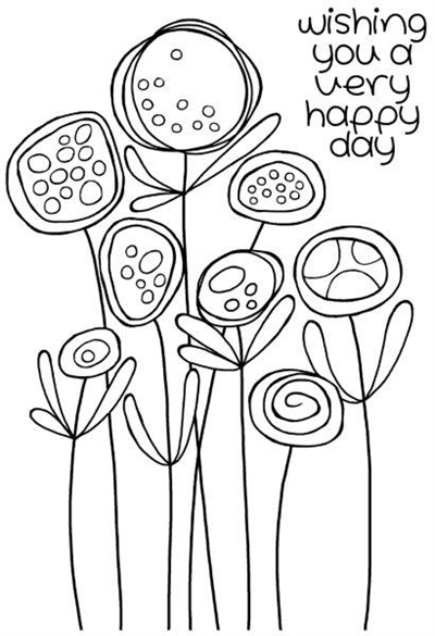 Happymade - Woodware - Clear stamp - Circle flowers - JGS492