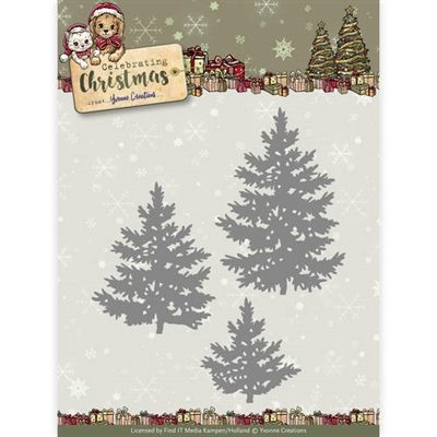 Happymade - Yvonne Creations die set - Celebrating christmas - Pine trees - YCD10111