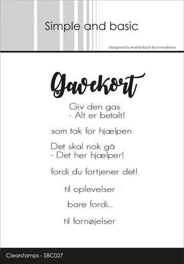 Happymade - Simple and basic - Clear stamp - Gavekort til... (SBC027)