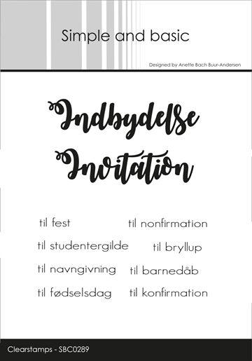 Happymade - Simple and basic - Clear stamp - Indbydelse/Invitation til... (SBC029)