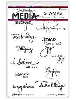 Dina Wakley Media Cling Stamp Set - Just what to say