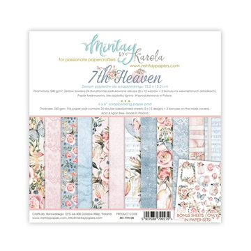 "Happymade - Mintay Papers - Design papers - 7th. Heaven - 6x6"" (blok m/24 + 2 bonus ark)"